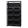 "Magnum Bin Unit with 6 Shelves & 10 Black Bins 19-3/4""L x 18-3/8""W x 11-7/8""H"
