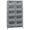 "42"" W x 16"" D x 75"" Hgt. Stackable Storage Bin Unit w/Gray Bins"