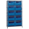"42"" W x 16"" D x 75"" Hgt. Stackable Storage Bin Unit w/Blue Bins"