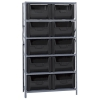 "42"" W x 16"" D x 75"" Hgt. Stackable Storage Bin Unit w/Black Bins"