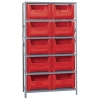 "42"" W x 16"" D x 75"" Hgt. Stackable Storage Bin Unit w/Red Bins"