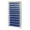 "Shelf Bin System with 12 Shelves & 77 Blue Bins 17-7/8""L x 4-1/8""W x 4""H"