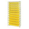 "Shelf Bin System with 12 Shelves & 77 Yellow Bins 17-7/8""L x 4-1/8""W x 4""H"