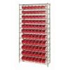 """Shelf Bin System with 12 Shelves & 77 Red Bins 17-7/8""""L x 4-1/8""""W x 4""""H"""