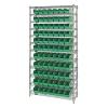 "Shelf Bin System with 12 Shelves & 77 Green Bins 17-7/8""L x 4-1/8""W x 4""H"