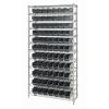 "Shelf Bin System with 12 Shelves & 77 Black Bins 17-7/8""L x 4-1/8""W x 4""H"