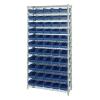 "Shelf Bin System with 12 Shelves & 55 Blue Bins 17-7/8""L x 6-5/8""W x 4""H"