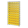 "Shelf Bin System with 12 Shelves & 55 Yellow Bins 17-7/8""L x 6-5/8""W x 4""H"