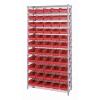 """Shelf Bin System with 12 Shelves & 55 Red Bins 17-7/8""""L x 6-5/8""""W x 4""""H"""