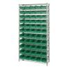 "Shelf Bin System with 12 Shelves & 55 Green Bins 17-7/8""L x 6-5/8""W x 4""H"