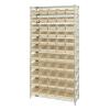 """Shelf Bin System with 12 Shelves & 55 Ivory Bins 17-7/8""""L x 6-5/8""""W x 4""""H"""