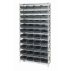 "Shelf Bin System with 12 Shelves & 55 Black Bins 17-7/8""L x 6-5/8""W x 4""H"