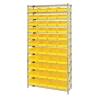 "Shelf Bin System with 12 Shelves & 44 Yellow Bins 17-7/8""L x 8-3/8""W x 4""H"