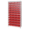 """Shelf Bin System with 12 Shelves & 44 Red Bins 17-7/8""""L x 8-3/8""""W x 4""""H"""