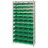 "Shelf Bin System with 12 Shelves & 44 Green Bins 17-7/8""L x 8-3/8""W x 4""H"