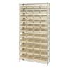 """Shelf Bin System with 12 Shelves & 44 Ivory Bins 17-7/8""""L x 8-3/8""""W x 4""""H"""