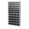 "Shelf Bin System with 12 Shelves & 44 Black Bins 17-7/8""L x 8-3/8""W x 4""H"