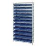 "Shelf Bin System with 12 Shelves & 33 Blue Bins 17-7/8""L x 11-1/8""W x 4""H"