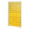 "Shelf Bin System with 12 Shelves & 33 Yellow Bins 17-7/8""L x 11-1/8""W x 4""H"