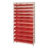 """Shelf Bin System with 12 Shelves & 33 Red Bins 17-7/8""""L x 11-1/8""""W x 4""""H"""
