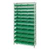 "Shelf Bin System with 12 Shelves & 33 Green Bins 17-7/8""L x 11-1/8""W x 4""H"