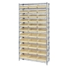 """Shelf Bin System with 12 Shelves & 33 Ivory Bins 17-7/8""""L x 11-1/8""""W x 4""""H"""