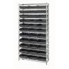 "Shelf Bin System with 12 Shelves & 33 Black Bins 17-7/8""L x 11-1/8""W x 4""H"