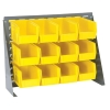 "27"" L x 8"" W x 21"" Hgt. Bench Rack with 12 - 10-7/8"" L x 5-1/2"" W x 5"" Hgt. Yellow Bins"
