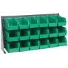 "36"" L x 8"" W x 19"" Hgt. Bench Rack with 18 - 10-7/8"" L x 5-1/2"" W x 5"" Hgt. Green Bins"