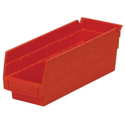 "Red Akro-Mils® Shelf Bin - 11-5/8"" L x 4-1/8"" W x 4"" Hgt."