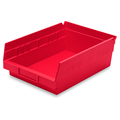 "11-5/8"" L x 8-3/8"" W x 4"" H Red Akro-Mils® Shelf Bin"