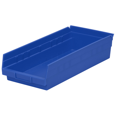 "17-7/8"" L x 8-3/8"" W x 4"" H Blue Akro-Mils® Shelf Bin"