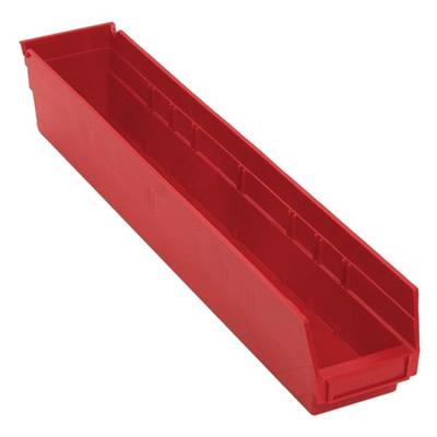 "Red Quantum® Economy Shelf Bin - 23-5/8"" L x 4-1/8"" W x 4"" Hgt."