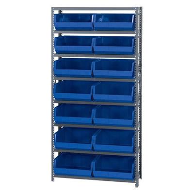 "12"" W x 36"" L x 75"" Hgt. Storage Unit w/8 Shelves & 8 Blue Bins 14-3/4"" L x 16-1/2"" W x 7"" Hgt."