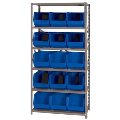 "18"" W x 36"" L x 75"" Hgt. Storage Unit w/6 Shelves & 15 Blue Bins 18"" L x 11"" W x 10"" Hgt."