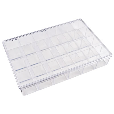 "K-Series™ Styrene 24 Compartment Box - 13-1/8"" L x 9"" W x 2-5/16"" Hgt."