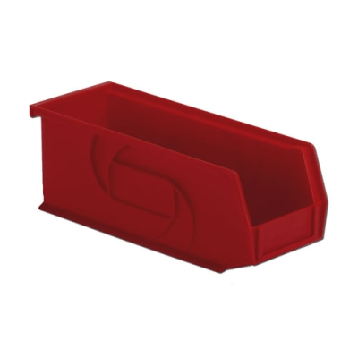 "10-7/8"" L x 4-1/8"" W x 4"" Hgt. Red Hang & Stack Bin"
