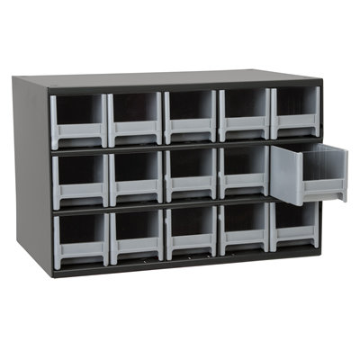 "Akro-Mils® Steel Frame Parts Cabinet with 15 Drawers - 3-3/16"" W x 3-1/16"" H x 10-9/16"" D"
