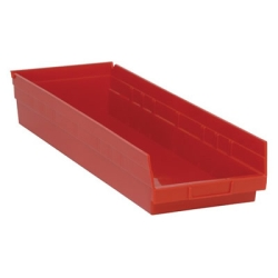 "23-5/8"" L x 8-3/8"" W x 4"" Hgt. Red Quantum® Economy Shelf Bin"