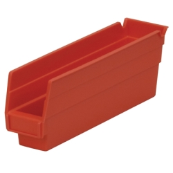 "Red Akro-Mils® Shelf Bin - 11-5/8"" L x 2-3/4"" W x 4"" Hgt."