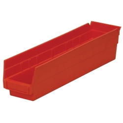 "17-7/8"" L x 4-1/8"" W x 4"" Hgt. Red Akro-Mils® Shelf Bin"