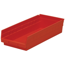 "17-7/8"" L x 8-3/8"" W x 4"" Hgt. Red Akro-Mils® Shelf Bin"