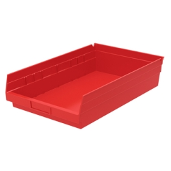 "Red Akro-Mils® Shelf Bin- 17-7/8"" L x 11-1/8"" W x 4"" Hgt."