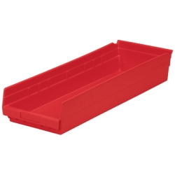 "23-5/8"" L x 8-3/8"" W x 4"" Hgt. Red Akro-Mils® Shelf Bin"