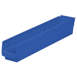 "23-5/8"" L x 4-1/8""W x 4""H Blue Akro-Mils® Shelf Bin"