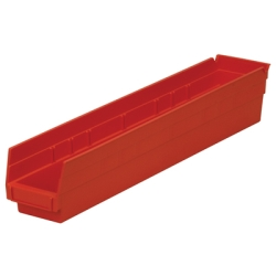 "23-5/8"" L x 4-1/8"" W x 4"" Hgt. Red Akro-Mils® Shelf Bin"