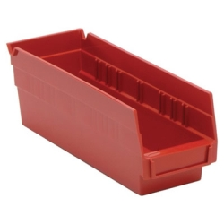 "11-5/8"" L x 4-1/8"" W x 4"" Hgt. Red Quantum® Economy Shelf Bin"