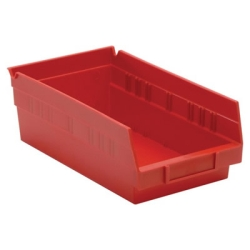 "11-5/8"" L x 6-5/8"" W x 4"" Hgt. Red Quantum® Economy Shelf Bin"