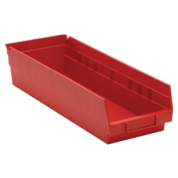 "17-7/8"" L x 6-5/8"" W x 4"" Hgt. Red Quantum® Economy Shelf Bin"