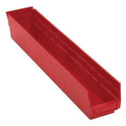 "23-5/8"" L x 4-1/8"" W x 4"" Hgt. Red Quantum® Economy Shelf Bin"